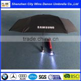 High quality OEM promotional fashion led light torch handle 3 fold automatic umbrella with light