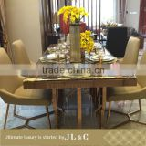 Newly Customized RT01099 Luxury Dining Room New Design Stainless Steel Dining Table Marble Top From JL&C Luxury Home Furniture