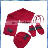 pink popcorn knitted hat mittens scarf set for young girls