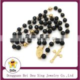 8MM Black Color Glass Rosary Beads Stainless Steel Religious Our Father Jesus Cross Pendant Necklace For Belief Jesus Christians