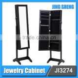 Wholesale Living Room Cabinet Furniture Black MDF Full-length Mirror Corner Jewelry Armoire