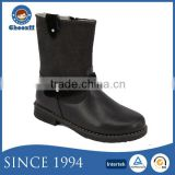 New Design Kids Warm Fur Lining Black Half Boots with Leather Upper