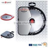 Hard durable plastic circular saw blades and carbide discs packaging with hanging loop Disk Pack PD