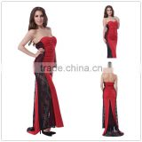 2016 New arrival fashion design prom dress strapless long red evening dress
