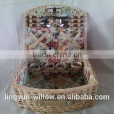 4 persons Folk Art Style and Basket Product Type willow picnic basket with floral fabric lining