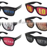 2014 New Collection Pinhole Sticker Fans Glasses With Flag printing lens Sticker Promotion 2014 Night Club Glasses (BSP2836)
