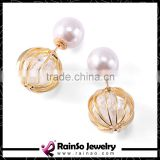 Round Ball Gold Double Sided Earrings with Imitation Pearls