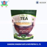 Aluminum foil moisture proof custom resealable heat seal compound stand up empty tea bag
