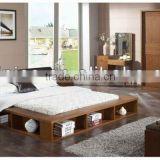 Contemporary Wooden Bedroom Set,Morden Bookcase Bed W Under Bed Storage Rack,Malaysia Style Solid Wood Frame Bedroom Furniture,