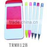 Plastic mobile phone table holder with pen set