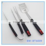 3-Piece BBQ Tools Stainless Steel Barbecue Grill Utensils Spatula Fork And Tong