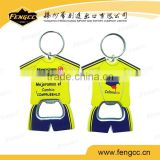 Promotion customized football team polo shirt metal bottle opener keychain for beer bottle