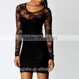 New Fashion Black Sexy Women's Ladies Floral Lace Dress Long Sleeve Bodycon Evening Dress