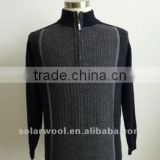 New Design Men's Cashmere Jacquard Raglan Cardigan with High Quality