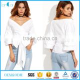 White Women Blouses Fall 2017 Womans Clothes Off Shoulder Top 3/4 Sleeve Sexy Shirt Autumn Bow Tie V Neck Wrap Blouse