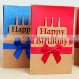 High quality bowknot happy birthday greeting cards custom paper greeting cards for happy birthday cards
