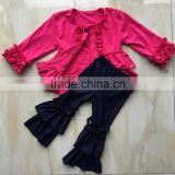 QL-379 hot pink jacket ruffle thin coat and jeans ruffle denim pants baby clothes 2016