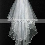 New Design 2 Layers Bead Edged Wedding Accessories Bridal Veil Wholesale