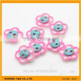 Fashion Flower Type 12mm 2-Holes Pink Blue Color Plastic Baby Coat Buttons