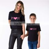 I Love Mom Black Short Sleeves Mother and Me Matching T-shirt