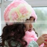 fashion pretty flower crochet baby gril beanie hat