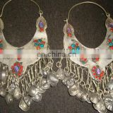 Tribal Newly Made Afghan Kuchi Earrings with coilorful beads