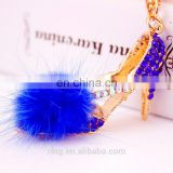 Fashion Diamond High Heel Shoes With Colorful Fur Ball Key Ring Keychain