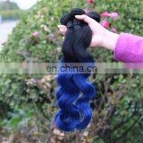 Ombre Brazilian Hair 1B Blue Mermaid Color Virgin Remy Brazilian Body Wave Human Hair Weave