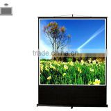 Water proof matte white fabric Portable floor up screen with Aluminum case