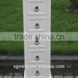 antique white wooden CD cabinet with 5 drawer