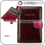 wholesale brown and pink cowhide leather travel passport wallet holder passport sleeve with money pocket