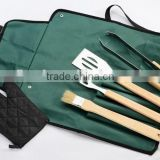 yangjiang factory manufacture stainless steel portable korean bbq tools with wood handle