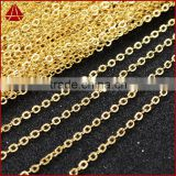 14 Inch 14K Gold Plated Copper Brass Finished Chain Necklace Finding Golden Flat Cable Chain With Losbter Clasp                                                                         Quality Choice