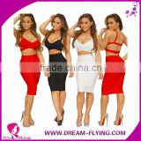 Summer two piece prom dress patterns sexy bodycon bandage backless crop tops pencil skirt