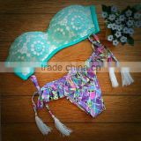 2015 new neoprene bikini factory, pink neoprene bikini manufacturer, halter neck swimwear
