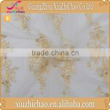 M0042-3 Factory direct selling gold african soft polyester embroidery bridal colored lace fabric