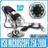 25x - 200x 2MP USB Digital Microscope Endoscope Video Camera Magnifier w/Driver