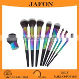 Unique 9pcs designer makeup brush sets with neon ferrule