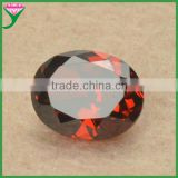 8*10mm machine cut Oval faceted synthetic Garnet cubic zirconia gem