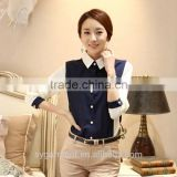 2015 Women royal blue with white half sleeves blouse korean fashion lady shirts