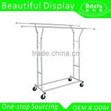 Adjustable Double Rail Rolling Garment Rack Clothing Rack Drying Rack Hanging Rack, Chrome Finish