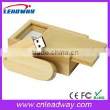 Swivel wooden or bamboo twist usb flash drives with box