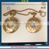 FS FLOWER - IP Plated Copper Material Mechanical Skeleton Pocket Watch Vintage Neckle Accessories