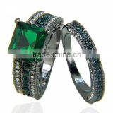 Thick Emerald Couple Ring Sets Big Central Stone Wedding Bands Love Romantic Ring For Lovers