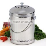 Stainless steel compost pail with lid