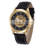 genuine leather band western style automatic self wind mechanical watches for men relojes