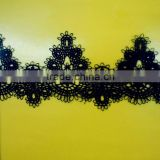 Daffodil Inspired Crocheted Black Heavy Lace Ribbon Trim Q08