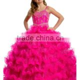 Luxurious beaded ball gown ruffled skirt beaded hot pink/apple green long girls pageant dresses CWFaf5279