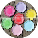 Disposable Lovely Lace Scallop Paper Plates Light Pink blue Red Yellow Green 7 colours for your choice