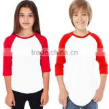 Wholesale Kids 3/4 Sleeves Round Neck Raglan Two Colors T shirts Child Youth Soccer Slim Fit Uniform